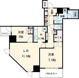 JR山手線 五反田駅 徒歩6分の賃貸マンション 18階2LDKの間取り