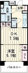 日神デュオステージ大宮浅間町 6階1DKの間取り