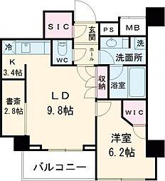 JR山手線 目黒駅 徒歩7分の賃貸マンション 9階1SLDKの間取り