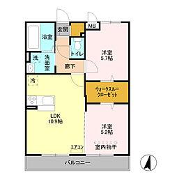 五反田ガーデン 2階2LDKの間取り