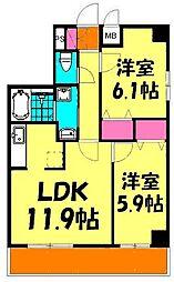 JR京浜東北・根岸線 川口駅 徒歩17分の賃貸マンション 3階2LDKの間取り