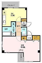 プリムヴェール七番館 2階1DKの間取り