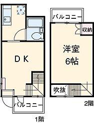 TOP東宮原 1階1LDKの間取り