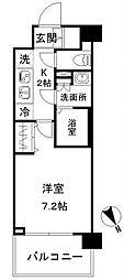 N-stage AkabaneShimo 4階1Kの間取り