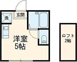 JR中央線 国立駅 徒歩14分の賃貸アパート 1階ワンルームの間取り
