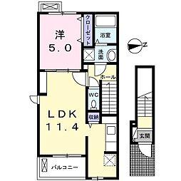 西武池袋線 保谷駅 徒歩19分の賃貸アパート 2階1LDKの間取り