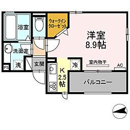 仮)D-room東田町 2階1Kの間取り