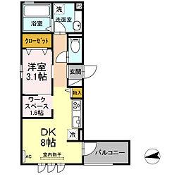 仮)D-room東田町 3階1DKの間取り