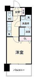エステムコート名古屋黒川シャルマン 5階1Kの間取り