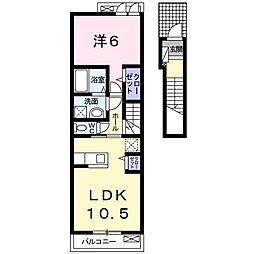 JR常磐線 常陸多賀駅 徒歩18分の賃貸アパート 2階1LDKの間取り