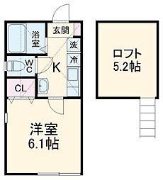 京急本線 上大岡駅 徒歩10分の賃貸アパート 1階1Kの間取り