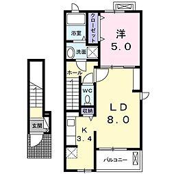 JR東海道本線 鷲津駅 徒歩9分の賃貸アパート 2階1LDKの間取り