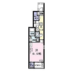 名鉄津島線 甚目寺駅 徒歩35分の賃貸アパート 1階1Kの間取り
