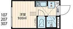 Nano上落合 1階ワンルームの間取り