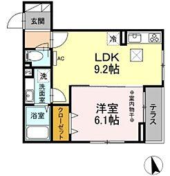 JR中央線 豊田駅 徒歩25分の賃貸アパート 2階1LDKの間取り
