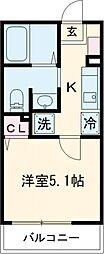 多摩都市モノレール 大塚・帝京大学駅 徒歩6分の賃貸アパート 2階1Kの間取り