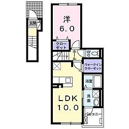 秩父鉄道 行田市駅 徒歩25分の賃貸アパート 2階1LDKの間取り