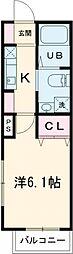 京王線 東府中駅 徒歩3分の賃貸アパート 2階1Kの間取り