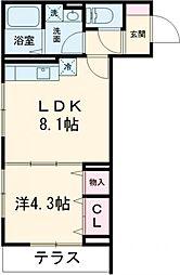 京王線 府中駅 徒歩3分の賃貸アパート 1階1LDKの間取り