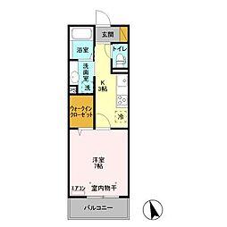 東葉高速鉄道 八千代緑が丘駅 徒歩11分の賃貸アパート 3階1Kの間取り