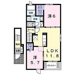 JR成田線 小見川駅 9.9kmの賃貸アパート 2階2LDKの間取り