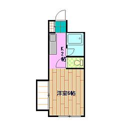 小田急小田原線 玉川学園前駅 徒歩19分の賃貸マンション 1階ワンルームの間取り