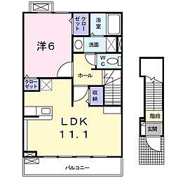 JR高崎線 北鴻巣駅 徒歩12分の賃貸アパート 2階1LDKの間取り