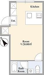 京急本線 雑色駅 徒歩6分の賃貸マンション 地下1階ワンルームの間取り
