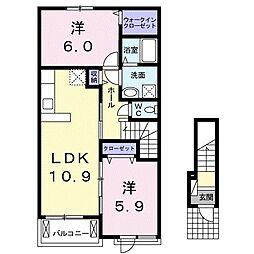 JR東海道本線 豊橋駅 バス16分 神野新田南下車 徒歩11分の賃貸アパート 2階2LDKの間取り