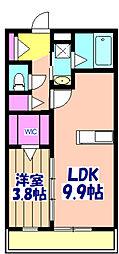 オークス塚田 3階1LDKの間取り