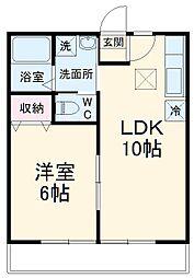 レオ伍拾六番館 1階1LDKの間取り