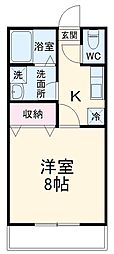JR成田線 成田駅 徒歩12分の賃貸アパート 1階1Kの間取り