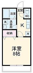 JR成田線 成田駅 徒歩12分の賃貸アパート 2階1Kの間取り