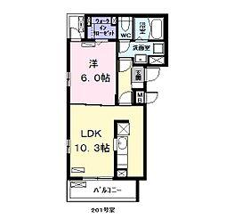 名古屋市営名港線 日比野駅 徒歩17分の賃貸アパート 2階1LDKの間取り