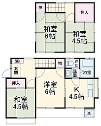東武伊勢崎線 春日部駅 徒歩11分の賃貸一戸建て 1階4Kの間取り