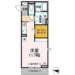 JR東北本線 岡本駅 7.2kmの賃貸アパート 3階1Kの間取り