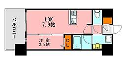 LANDIC K2620 12階1LDKの間取り