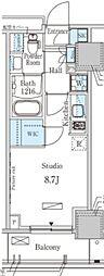 東京メトロ有楽町線 地下鉄赤塚駅 徒歩3分の賃貸マンション 7階ワンルームの間取り