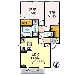 堀越様D-room新築工事 2階2LDKの間取り