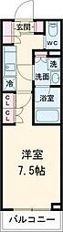 ブライズ世田谷桜 2階1Kの間取り