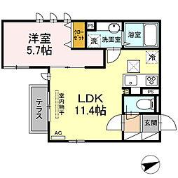 (仮)D-room下作延 2階1LDKの間取り