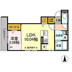 仮)-room加納徳川町Y 1階1LDKの間取り