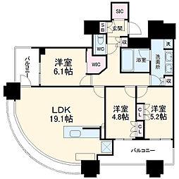 パークシティ武蔵小杉ザ・グランドウイングタワー 27階3LDKの間取り