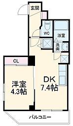 シャルム・ドゥ・プランドールI 4階1DKの間取り