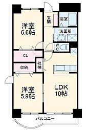 名古屋市営東山線 一社駅 徒歩10分の賃貸マンション 2階2LDKの間取り