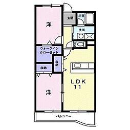 ウィスタリア 2階2LDKの間取り