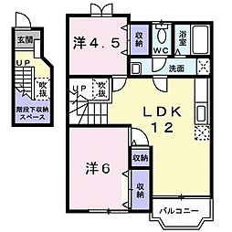 JR高崎線 神保原駅 徒歩13分の賃貸アパート 2階2LDKの間取り