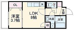 JR総武線 船橋駅 徒歩14分の賃貸マンション 1階1LDKの間取り