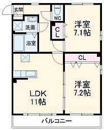 JR南武線 平間駅 徒歩12分の賃貸マンション 1階2LDKの間取り