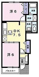 JR川越線 南古谷駅 徒歩10分の賃貸アパート 1階2DKの間取り